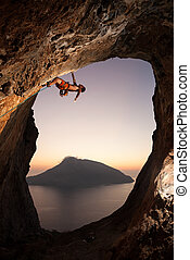 Rock climber at sunset Kalymnos Island, Greece