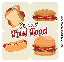 fast food - fast food over white background vector...