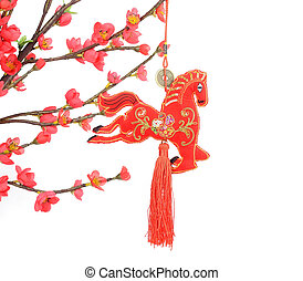 "chinese horse knot on white background, word for ""horse"",..."