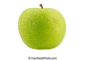 Green apple with on a white background