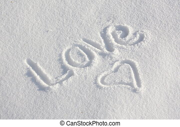 Snowy Love You - Love You written in the snow during winter...