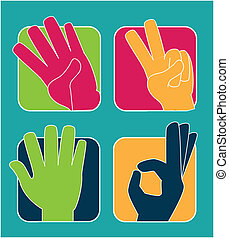 hands gesture over blue background vector illustration