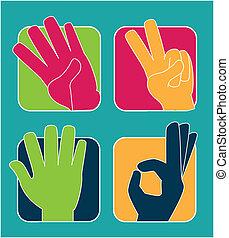 hands gesture over  blue background vector illustration