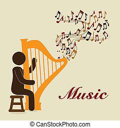 musical design over beige  background vector illustration