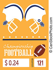 american football design over orange background vector...