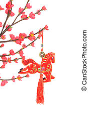 chinese horse knot on white background, word for...