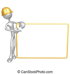 Construction Worker With Blank Sign - 3D Concept And...