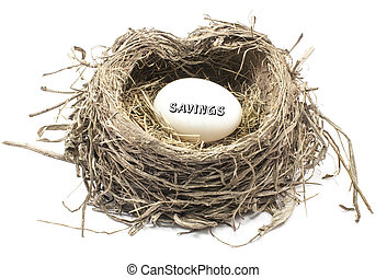 Savings Nest Egg - An egg in a birds nest with the word...
