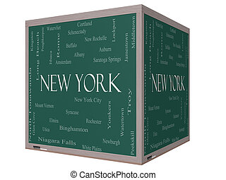New York State Word Cloud Concept on a 3D Cube Blackboard