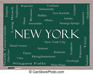 New York State Word Cloud Concept on a Blackboard with about...