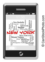 New York Word Cloud Concept on Touchscreen Phone - New York...