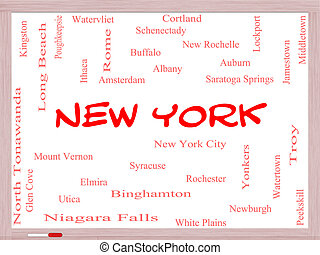 New York State Word Cloud Concept on a Whiteboard with about...
