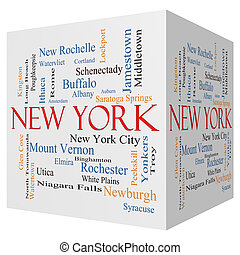 New York State 3D cube Word Cloud Concept with about the 30...