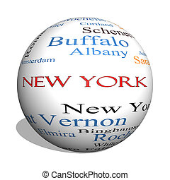 New York State 3D sphere Word Cloud Concept with about the...