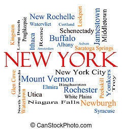 New York State Word Cloud Concept with about the 30 largest...