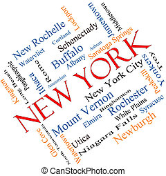 New York State Word Cloud Concept Angled - New York State...