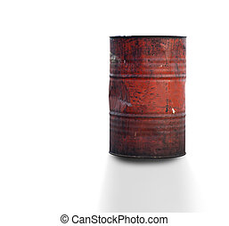rusty oil barrel - rusty rough grunge oil barrel isolated on...
