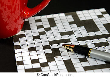 crossword puzzle with red mug - Ink pen and red coffee mug...