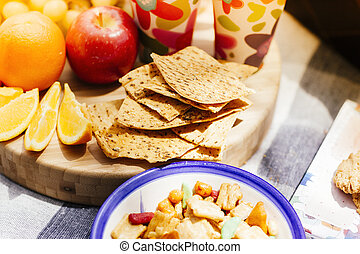 food in picnic setting - food layed out in picnic setting