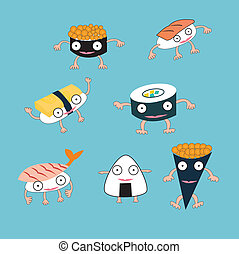 Sushi Japanese food cartoon monster concept
