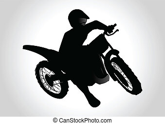 Motocrosser - Silhouette illustration of a man on motocross