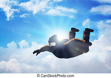 Sky Diving - Silhouette illustration of a sky diver