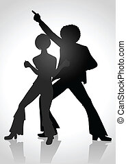 Disco 70s - Silhouette Illustration of a couple dancing in...