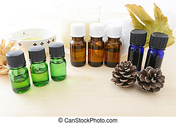 Essential oil of the good fragrance on the table