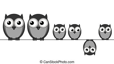 Owl Family - Owl family sat in a wire isolated on white...