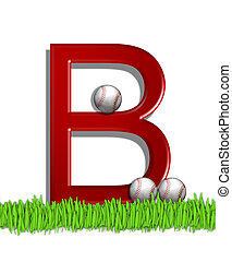 Alphabet Baseball B - The letter B, in the alphabet set...