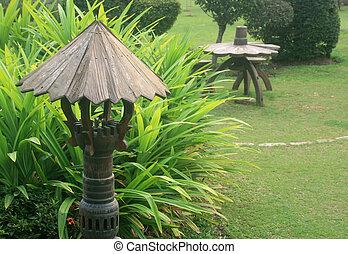 Old chair in garden