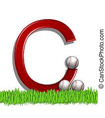Alphabet Baseball C - The letter C, in the alphabet set...