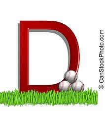 Alphabet Baseball D - The letter D, in the alphabet set...