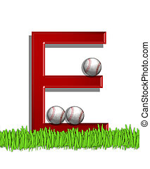 Alphabet Baseball E - The letter E, in the alphabet set...