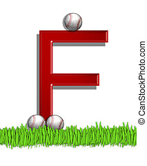 Alphabet Baseball F - The letter F, in the alphabet set...