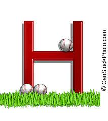 Alphabet Baseball H - The letter H, in the alphabet set...