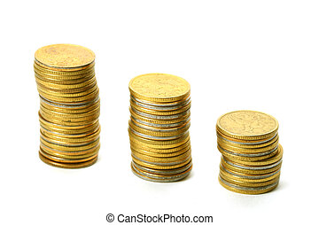 coins piles isolated on white background