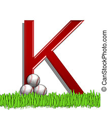 Alphabet Baseball K - The letter K, in the alphabet set...