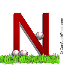Alphabet Baseball N - The letter N, in the alphabet set...