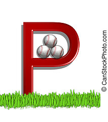 Alphabet Baseball P - The letter P, in the alphabet set...