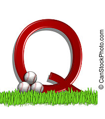 Alphabet Baseball Q - The letter Q, in the alphabet set...