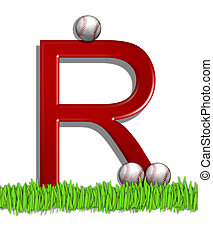 Alphabet Baseball R - The letter R, in the alphabet set...