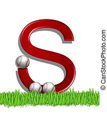 Alphabet Baseball S - The letter S, in the alphabet set...