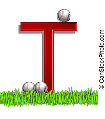 Alphabet Baseball T - The letter T, in the alphabet set...