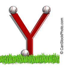 Alphabet Baseball Y - The letter Y, in the alphabet set...