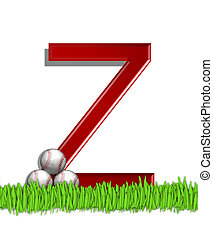 Alphabet Baseball Z - The letter Z, in the alphabet set...