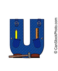 Alphabet Carpenter Tools U - The letter U, in the alphabet...
