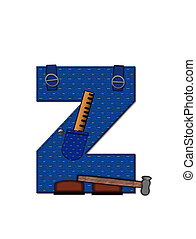 Alphabet Carpenter Tools Z - The letter Z, in the alphabet...