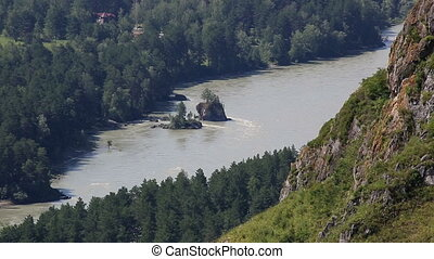 Katun River from Mount Bloody Finger in Altai Krai. Russia.
