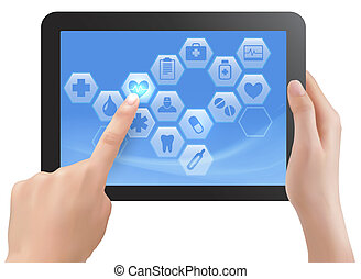 Two hands touch screen of tablet with medical icons Vector